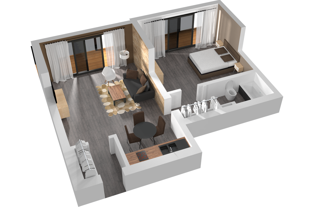 Visualisation plan 3d appartement graphisme for Architecture d interieur