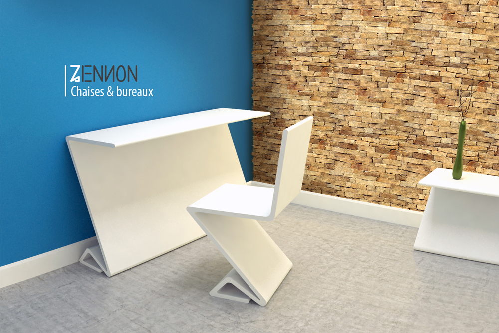Conception mobilier chaise et bureau graphisme for Mobilier bureau 2d