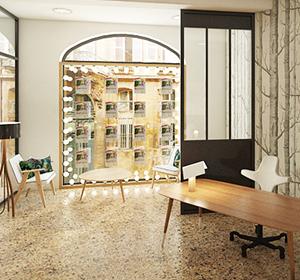 <span>Visuel 3D aménagement agence immobilière</span><i>→</i>