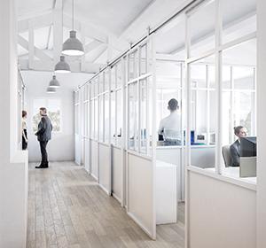 <span>Visuel 3D plateau de bureaux</span><i>→</i>